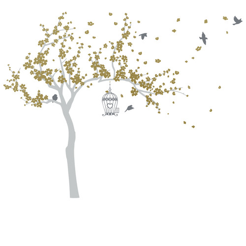 The Decal Guru Blossom Tree and Birds Wall Decal