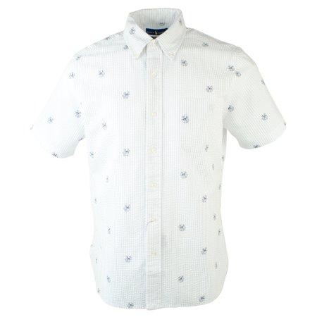 Polo Ralph Lauren Men's Seersucker Dog & Anchor Print Short Sleeve Shirt