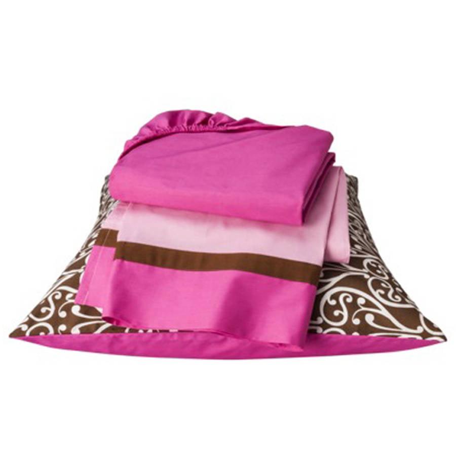 Bacati  -  Damask 3 - Piece 100% Cotton Percale Toddler Sheet Set, Pink / Chocolate