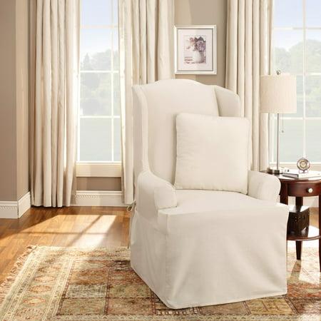 Cool Sure Fit Cotton Duck Wing Chair Slipcover Machost Co Dining Chair Design Ideas Machostcouk