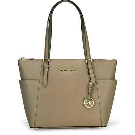 Michael Kors Jet Set Top-Zip Saffiano Leather Medium Tote - Dune - 30F2GTTT8L-177