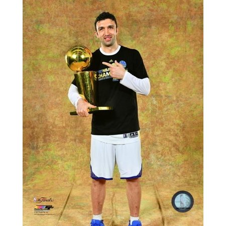 Zaza Pachulia with the 2017 NBA Championship Trophy Game 5 of the 2017 NBA Finals Photo Print