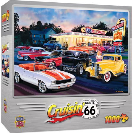 Cruisin' Route 66 Dogs & Burgers 1000 Piece Jigsaw Puzzle Usaopoly Dog Puzzle