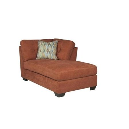 Ashley delta city right arm fabric chaise lounge in rust for Armed chaise lounge