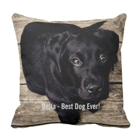 ARTJIA Yellow Custom Black Lab Dog and Name Cute Labrador Pillowcase Cushion Cover 18x18