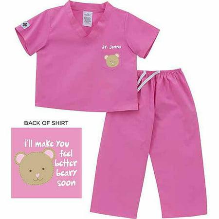 Personalized Sandra Magsamen Bear Pink Scrubs, 6 month to 24 months - Personalized Baby Scrubs