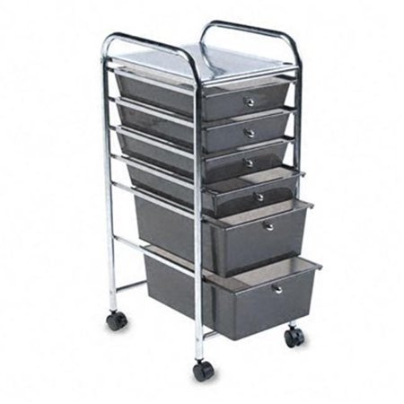 Portable Six-Drawer Organizer  Chrome Metal Frame/Drawer Pulls  Smoke Drawers ()