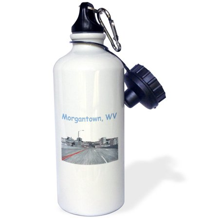 3dRose Colored Pencil Drawing of the City Skyline of Morgantown WV, Sports Water Bottle, 21oz