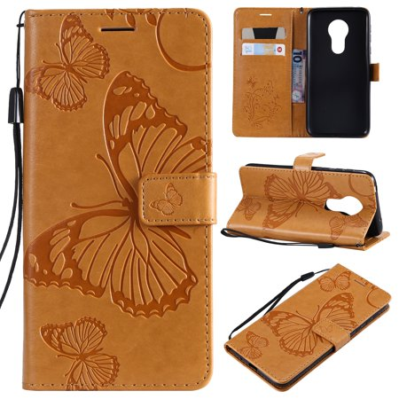 Motorola Moto G7 Power Wallet Case, Dteck Slim Embossed Butterfly PU Leather Flip Folio Stand Case Cover with Hand Strap For Moto G7 Power, Built-in 2 Card Slots/Money Pocket, Yellow