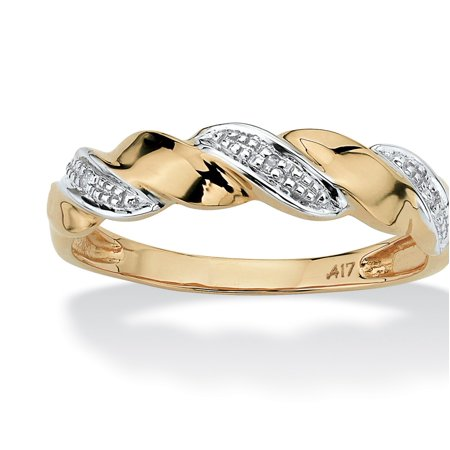 Diamond Accent Ribbon Twist Ring in 10k Yellow Gold