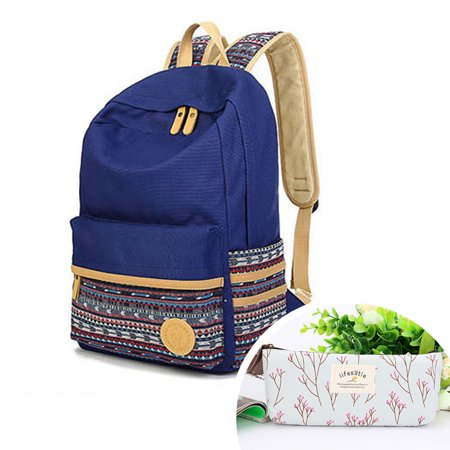 Canvas Laptop Backpack Cute School Bag Casual Style Lightweight Laptop Bag/Shoulder Bag/School Backpack/Travel Bag with Embroidery Design with One Free Pen (Best Lightweight Computer Backpack)