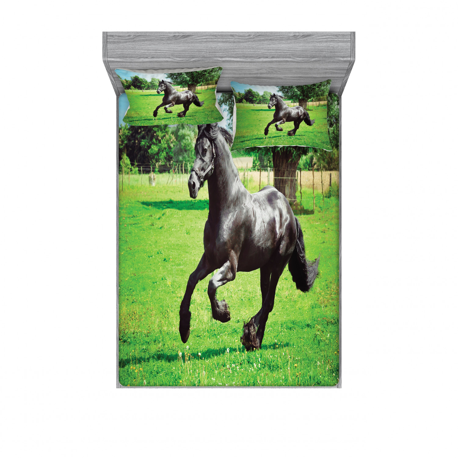 Horses Bedding Set With Sheet Covers Friesian Male Horse Masculine Driving Force Of Life Power Inner Strength Printed Bedroom Decor 2 Shams 4 Sizes Black Green By Ambesonne Walmart Com Walmart Com