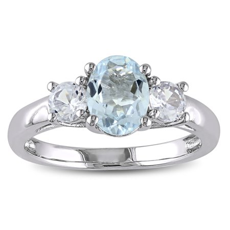 Sterling Silver Aquamarine and Created White Sapphire 3-stone Ring