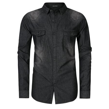 Yong Horse Men's Big & Tall Long Sleeve Western Work Denim Shirt Color:Black Size:XL