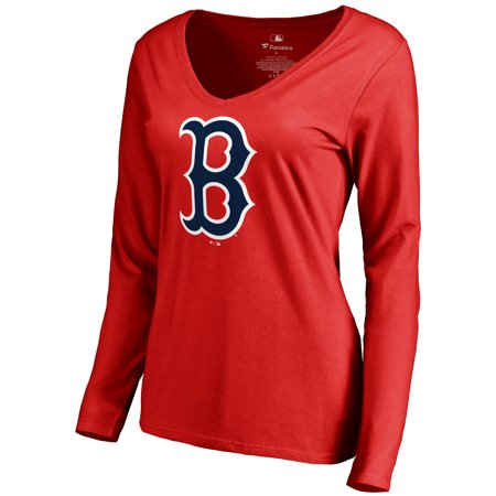 Boston Red Sox Women's Secondary Color Primary Logo Long Sleeve T-Shirt - Red](Red Sox Store)