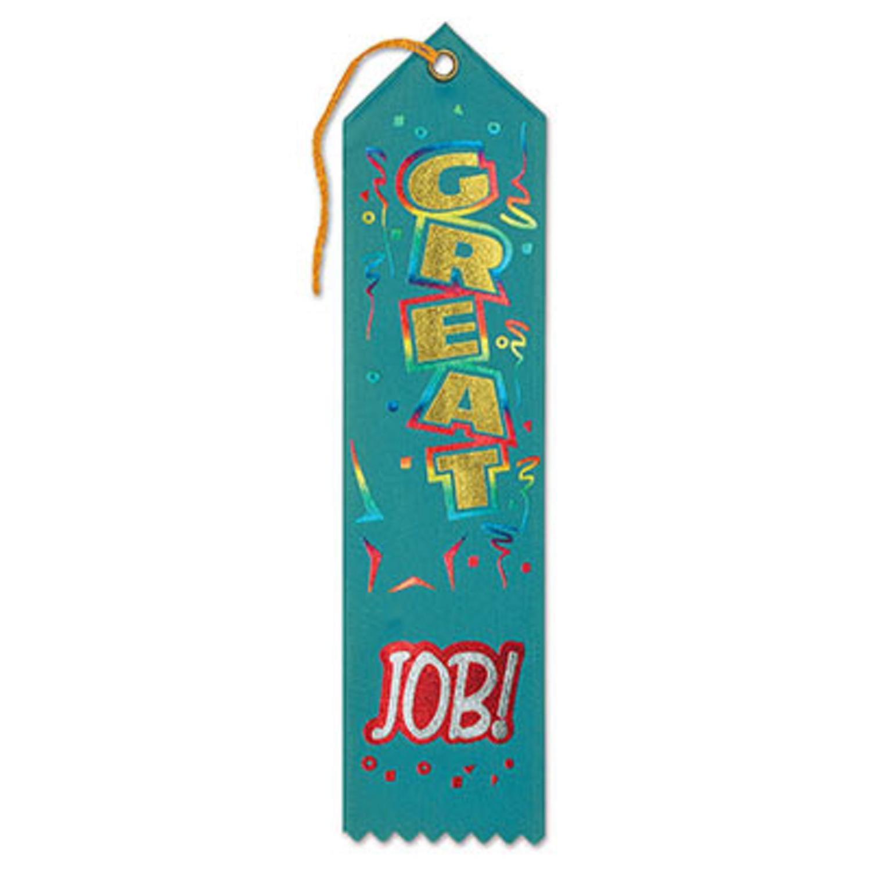 "Pack of 6 Green ""Great Job! Award"" School Award Ribbon Bookmarks 8"""