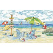 """Beach Signs Counted Cross Stitch Kit, 11"""" x 18"""", 14-Count"""