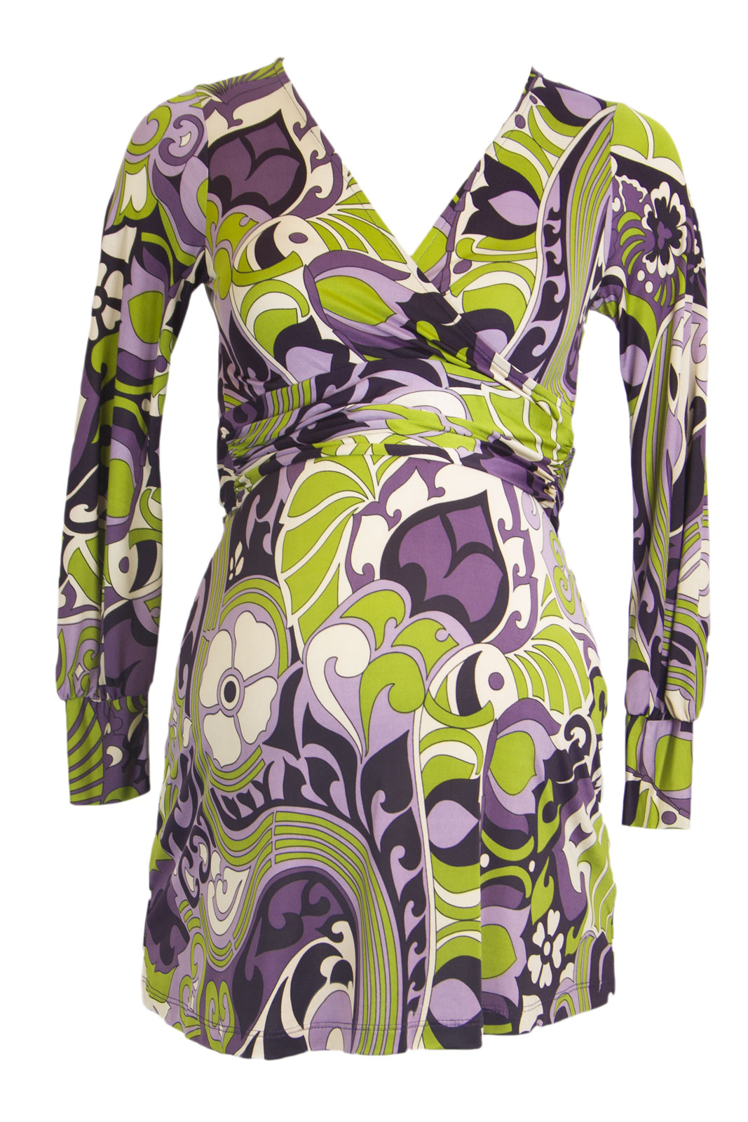 OLIAN Maternity Women's Floral Print 3/4 Sleeve Faux Wrap Tunic X-Small Lilac