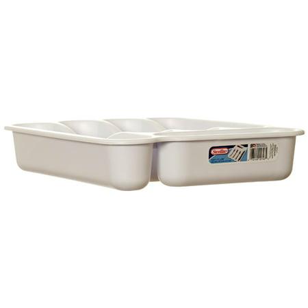 New 342568  Sterilite 1574 5 Cmptmt Cutlery Tray Wht (6-Pack) Tumblers Cheap Wholesale Discount Bulk Plasticware Tumblers Bud -