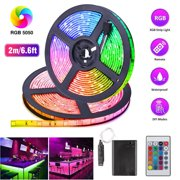 3.3/6.6Ft LED Strip Lights, TSV Waterproof RGB SMD 5050 LED Rope Lighting, Color changeable LED Light Kit with 24-keys IR Remote Controller, Flexible Cuttable LED Strip Light, Power by Battery Box