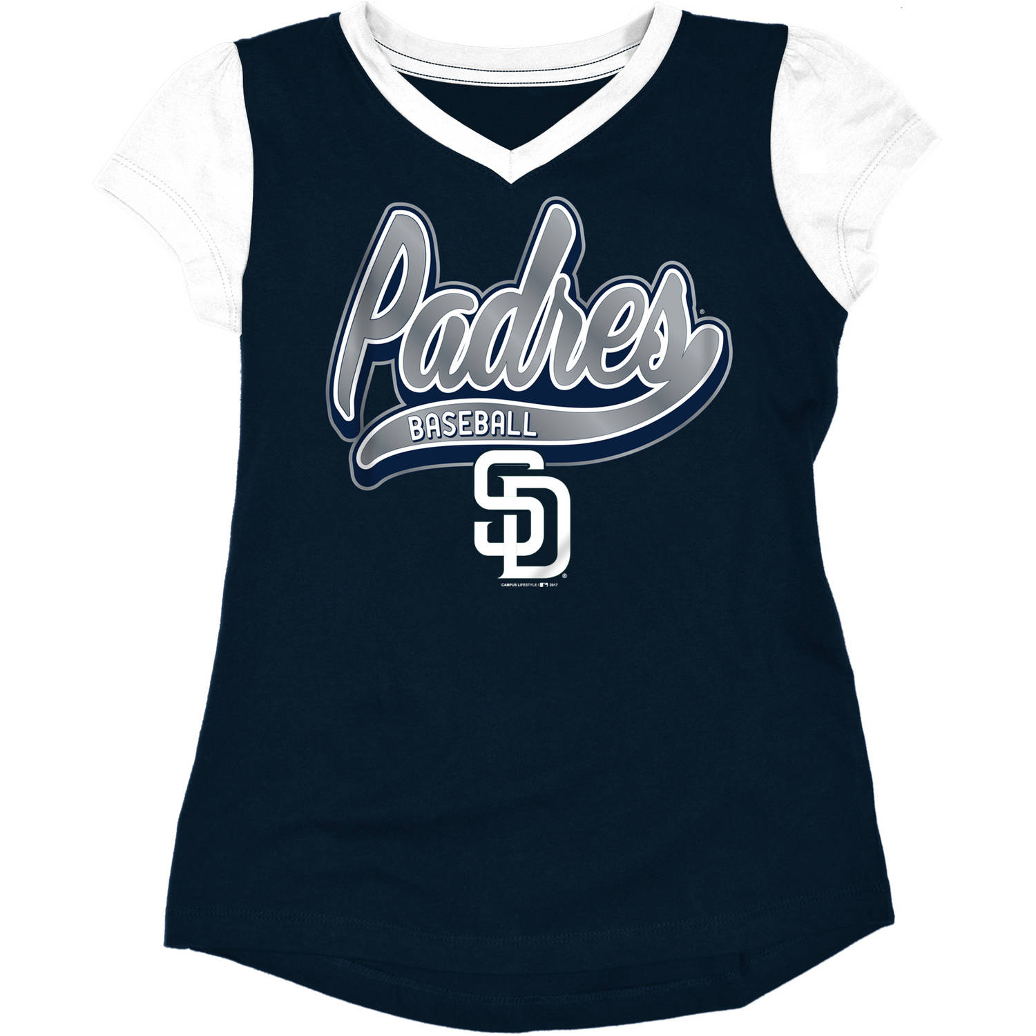 MLB San Diego Padres Girls Short Sleeve Team Color Graphic Tee