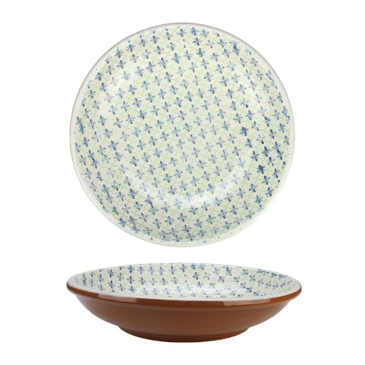 """12.25"""" French Countryside Decorative Green and Blue Flower Round Terracotta Bowl by Kaemingk"""