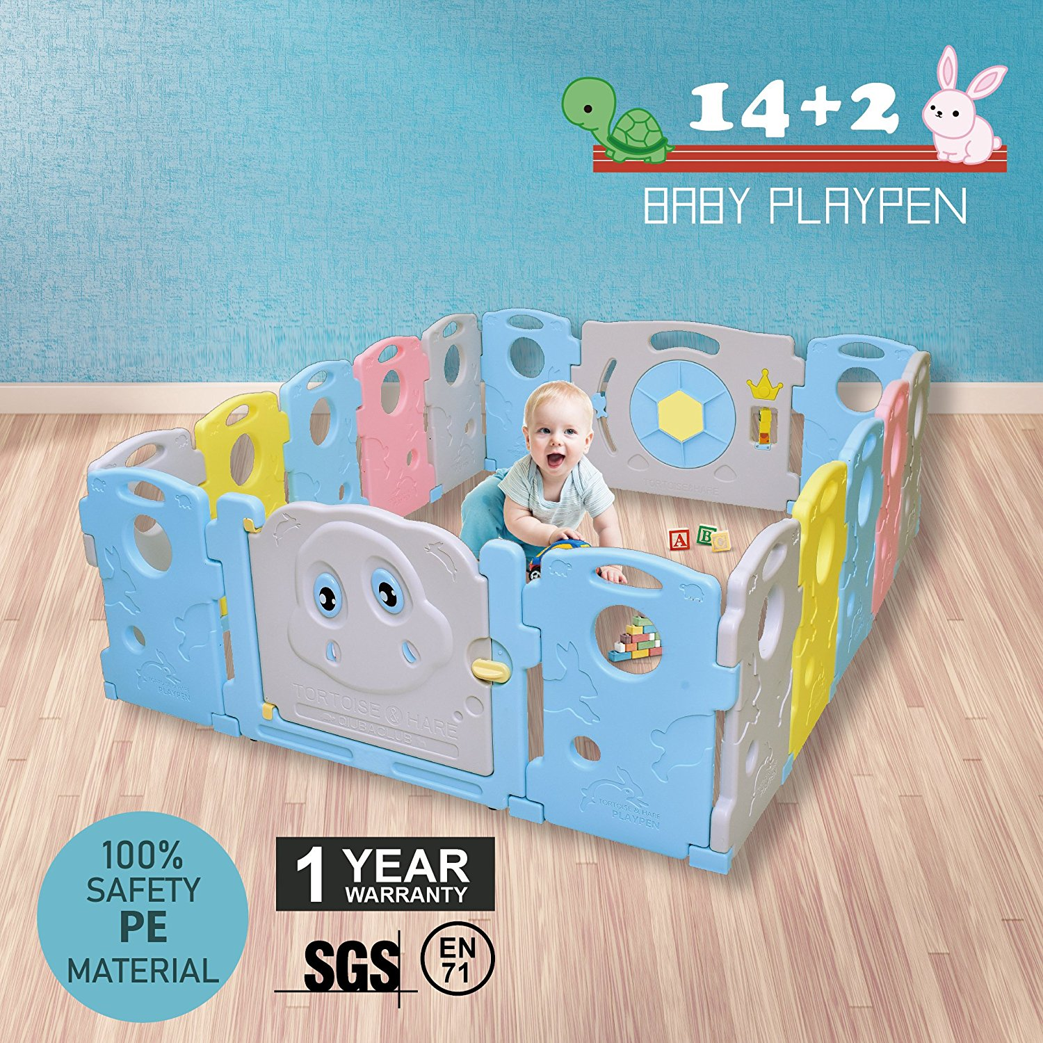 16 Panel Baby Playpen Portable Toddler Safety Folding Play Yard Indoor Outdoor