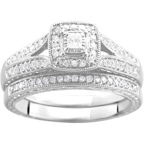 1/3 Carat T.W. Diamond Bridal Set in Argentium Silver