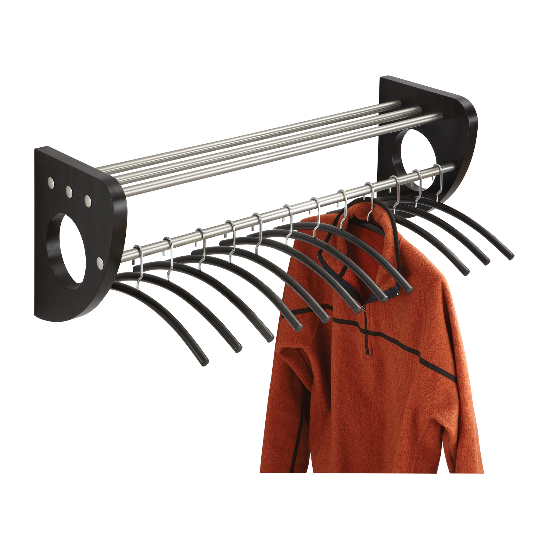 Safco 4212BL Coat Racks Mode 36 In Wood Wall Coat Rack With Hangers