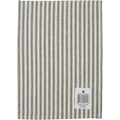 "Cream Ticking Stripe Dishtowel 20"" x 28"", Black"