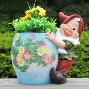 SINTECHNO Cute Gnome Hugs Blue Flower Pot Planter