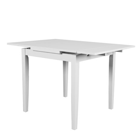 CorLiving Dillon Extendable White Dining Table with Two 8in Leaves