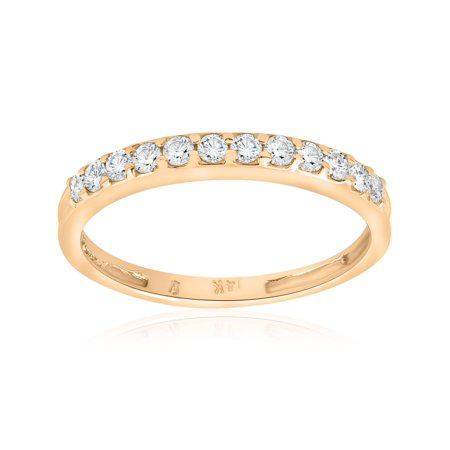 1/2ct Diamond Wedding Ring 14K Yellow Gold Womens Stackable Band Jewelry - Yellow Gold Diamond Estate Band