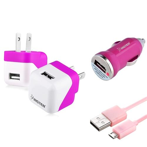 Insten Pink Mini Travel AC Wall + Car Charger + Micro USB Cable for Android Smartphone Universal