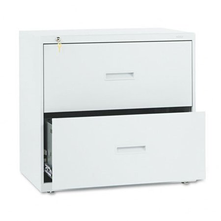 "Hon 400 Series Lateral File With Lock - 30"" X 19.3"" X 28.4"" - Steel - 2 X File Drawer[s] - Legal, Letter - Interlocking, Ball-bearing Suspension, Leveling Glide - Light Gray (432LQ)"