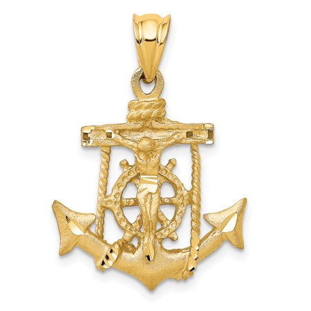 14k Yellow Gold Nautical Anchor Ship Wheel Mariners Cross Religious Pendant Charm Necklace Mariner