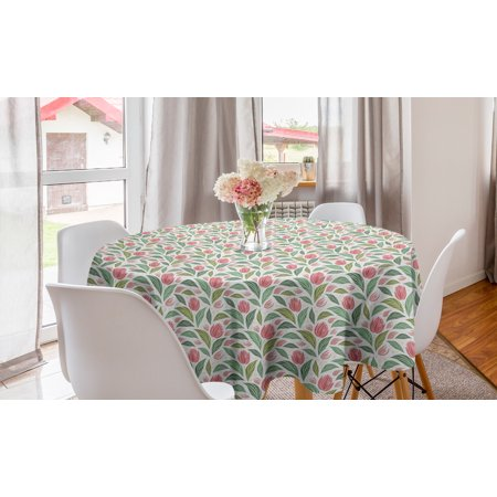 Floral Round Tablecloth, Design of Striped Flowers and Leaves Blots Pastel Colored Vintage Pattern, Circle Table Cloth Cover for Dining Room Kitchen Decor, 60