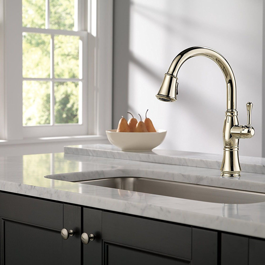 Delta faucets cassidy single handle kitchen faucet polished nickel 9197 pn dst