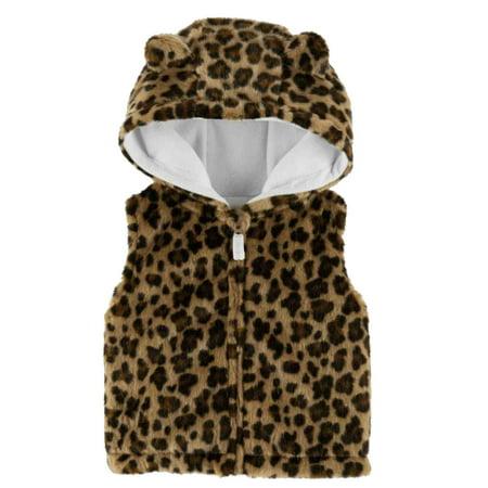 Toddler Girls Fuzzy Faux Fur Leopard Print Zip Front Hoodie Vest