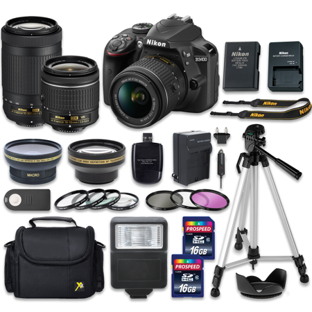 Nikon D3400 24.2 MP DSLR Camera w/ 18-55mm VR Lens (Vibration Reduction) + NIKKOR 70-300mm Lens with 2 Pieces 16GB High Speed SDHC Memory Cards, Camera Bag, Professional Tripod - International