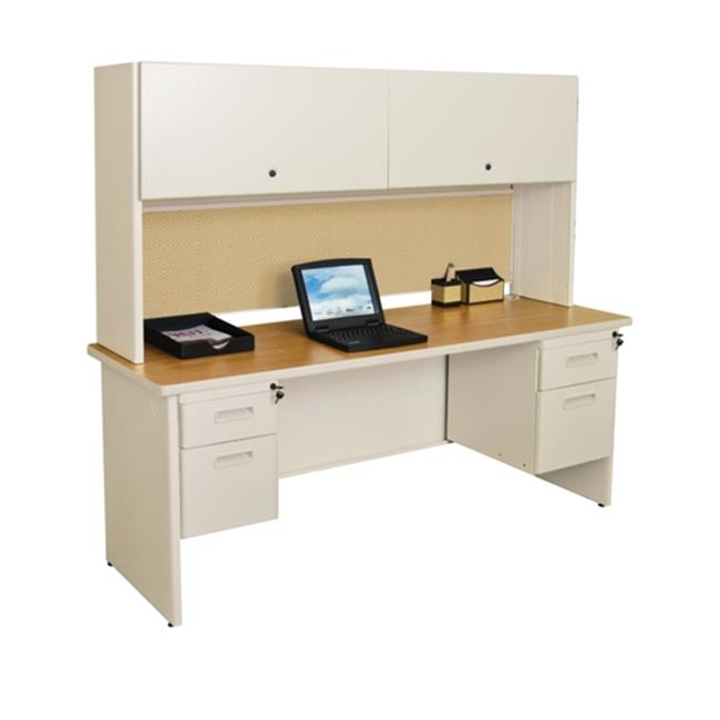 Marvel PRNT5UTOK_8561 Pronto 72'' Double File Desk with Flipper Door Cabinet Putty-Beryl by MARVEL
