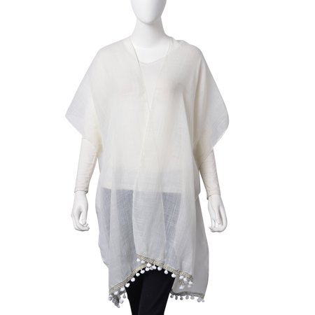 80% Rayon 20% Polyester (Scarf White 20% Viscose 80% Polyester Lace Kimono Swimsuit Beach Cover Ups with Mini Pompom Lining One)
