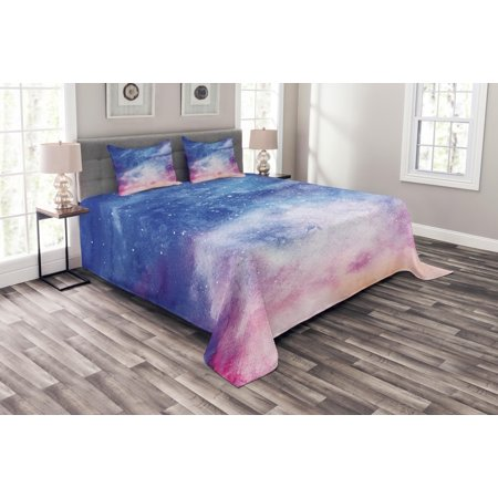 Navy and Blush Bedspread Set, Watercolor Style Starry Space Galaxy Nebula Abstract Cosmos Inspired, Decorative Quilted Coverlet Set with Pillow Shams Included, Blue Pink Salmon, by Ambesonne ()