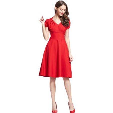 Women Halter Style V-Neck Short Sleeves Skirt Pleated Dress Red (Pleats V-neck Skirt)