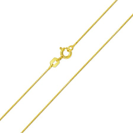 Simple Thin 019 Gauge 14K Gold Plated 925 Sterling Silver Box Chain Necklace For Women For Teen More Lengths