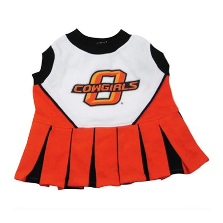 OKLAHOMA STATE COWBOYS DOG Cheerleader Outfit, X-Small, 100-Percent Cotton screen printed team cheerleader outfit By Pets First