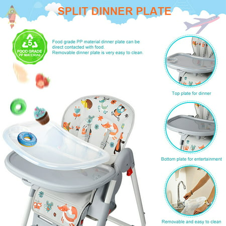 Baby High Chair With Basket, Booster Toddle Highchair, 6-Position Adjustable Seat Height, 3-Position Adjustable Food Tray - image 10 of 12