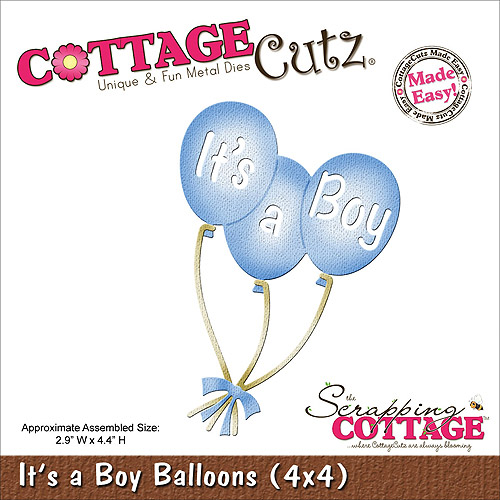"CottageCutz Die, 4"" x 4"", It's A Boy Balloons"