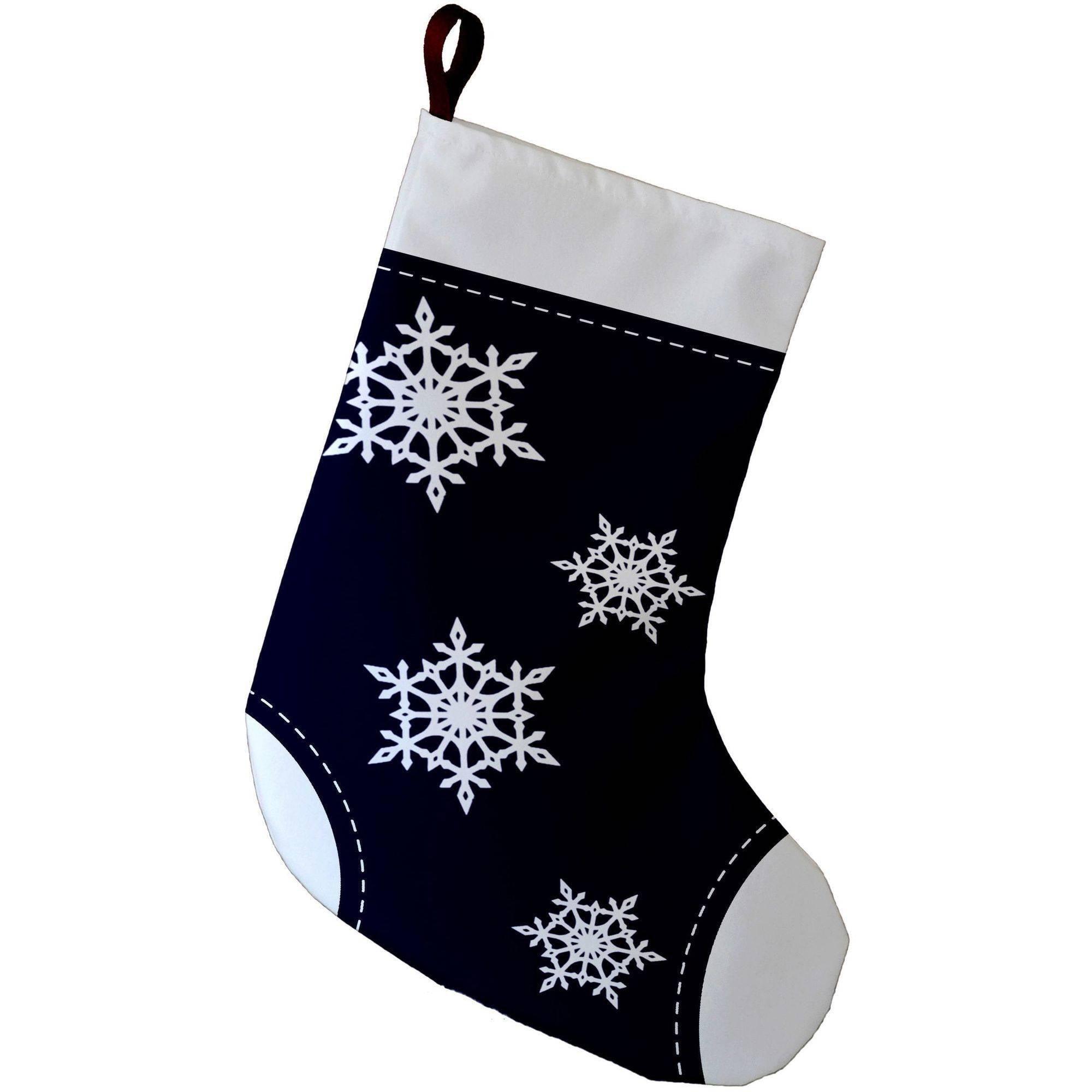 E By Design Simply Daisy, 9 x 16, Snowflake, Decorative Holiday Geometric Print Stocking
