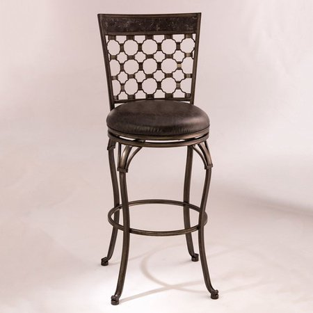 Brescello Swivel Counter Stool, Antique Pewter Finish, Blue Stone Stop Panel ()